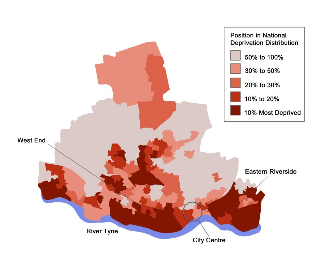 Economic deprivation map of Newcastle